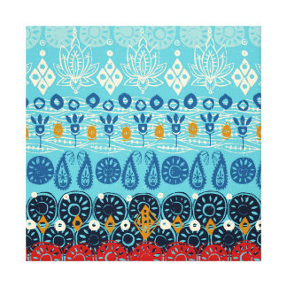 lotus block blue canvas print