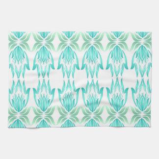 Lotus Block Zen Print Kitchen Towel Turquoise
