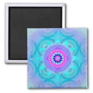 Lotus Bloom Turquoise Mandala ID129 Square Magnet
