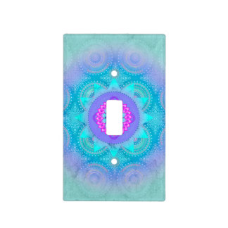 Lotus Bloom Turquoise Mandala Light Switch Cover
