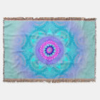Lotus Bloom Turquoise Mandala Throw Blanket