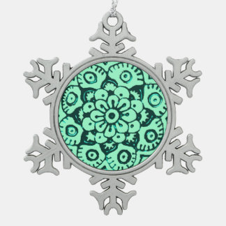 Lotus Blossom (Henna) (Teal) Snowflake Pewter Christmas Ornament