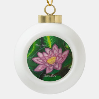 Lotus Blossom (Lily Pad) Ceramic Ball Christmas Ornament