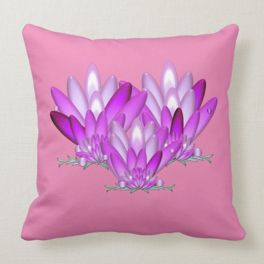 Lotus blossom pink on pink background throw pillow