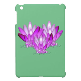 Lotus blossom pink on sea green background case for the iPad mini