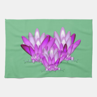 Lotus blossom pink on sea green background kitchen towel