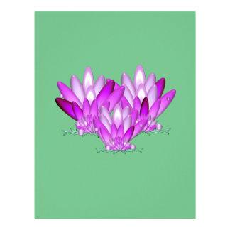 Lotus blossom pink on sea green background letterhead