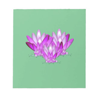 Lotus blossom pink on sea green background notepad