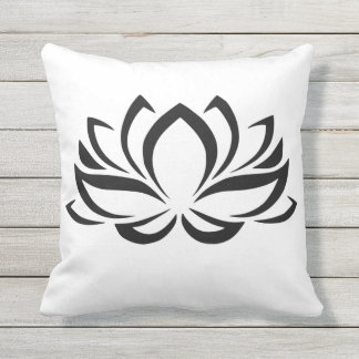 Lotus Blossom Sillouette Outdoor Pillow