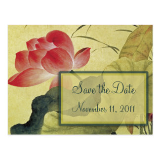 Lotus Blossom Wedding Save the Date Postcard