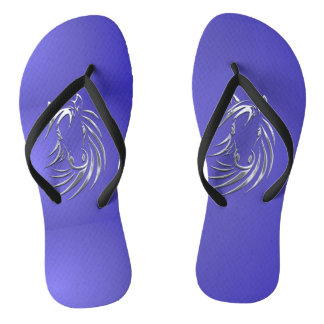 Lotus Blue Horse Head Flip Flops