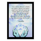 Lotus Buddha Flower Quote Blue Poster 2