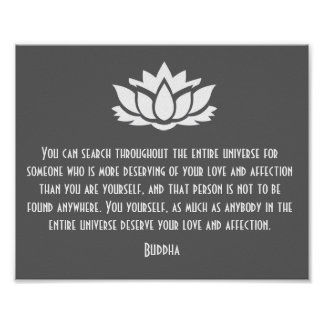 Lotus Buddha Love Quote Poster