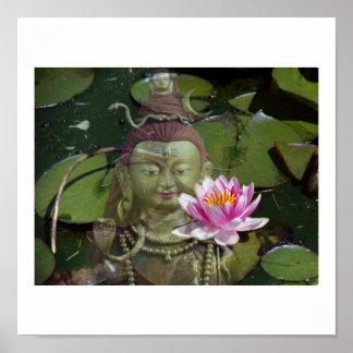 Lotus  & Buddha Poster