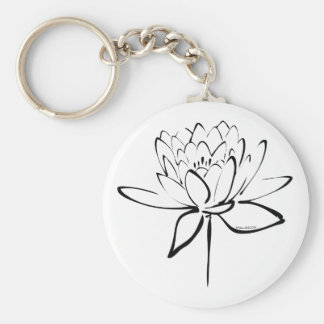 Lotus Calligraphy (Black) Keychain