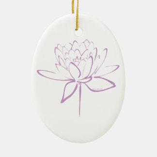 Lotus Calligraphy (Lavender) Ceramic Ornament