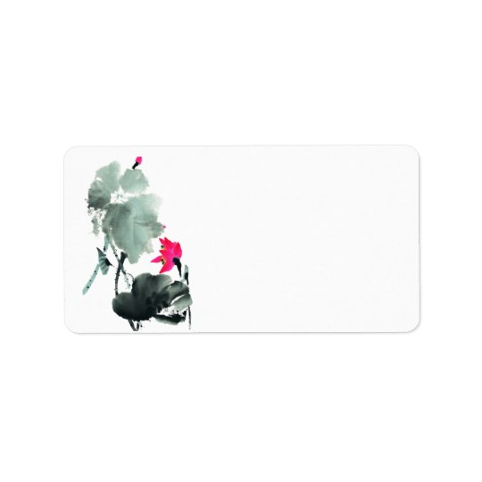 Lotus/Chinese Brush Painting Art/Blank Address