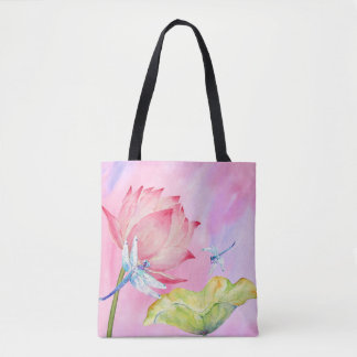 lotus dragonflies watercolor summer soft pink bag