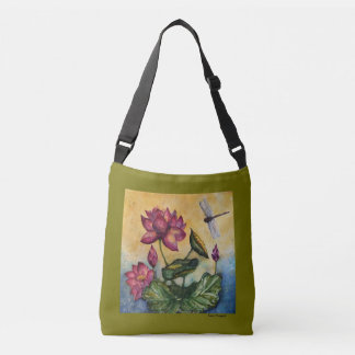 Lotus Dragonfly Watercolor Crossbody Bag