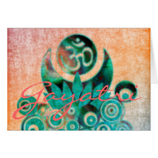Lotus Energy Batik Style & GAYATRI MANTRA inside Card
