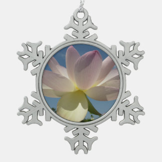 Lotus Flower and Blue Sky II Nature Photography Snowflake Pewter Christmas Ornament