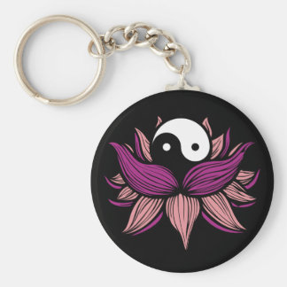Lotus Flower and Yin Yang Keychain