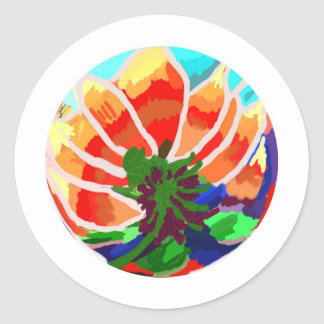LOTUS Flower - Artistic Abstract Classic Round Sticker