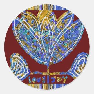 LOTUS flower Artistic Presentation Blue India Fun Sticker