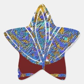 LOTUS flower Artistic Presentation Blue India Fun Star Sticker