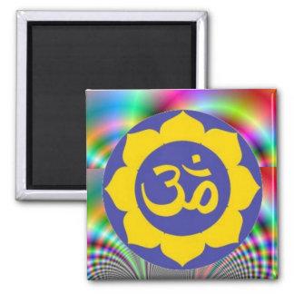 lotus flower - aum meditation square magnet