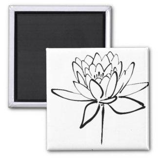 Lotus Flower Black and White Ink Drawing Art Magnet