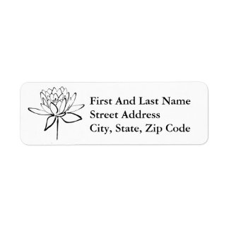 Lotus Flower Black and White Ink Drawing Art Return Address Label