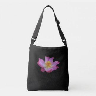 Lotus Flower Black Shoulder Bag