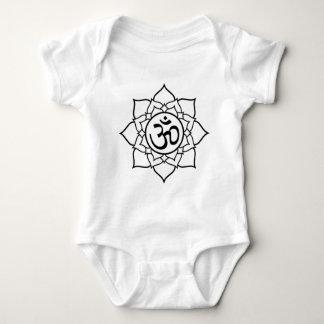 Lotus Flower, Black with White Background Baby Bodysuit