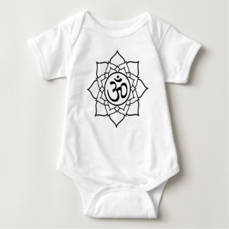 Lotus Flower, Black with White Background Baby Bodysuit