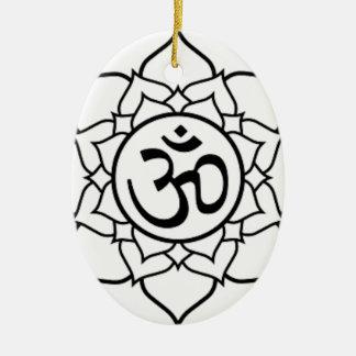 Lotus Flower, Black with White Background Ceramic Ornament
