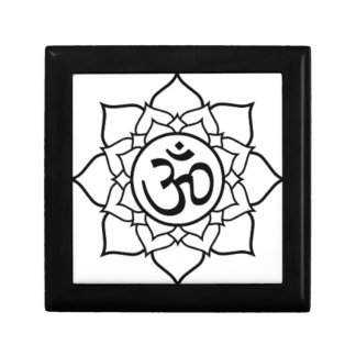 Lotus Flower, Black with White Background Gift Box