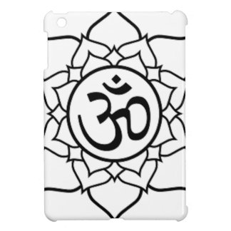 Lotus Flower, Black with White Background iPad Mini Cover