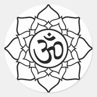 Lotus Flower, Black with White Background Round Sticker