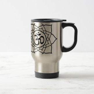 Lotus Flower, Black with White Background Travel Mug