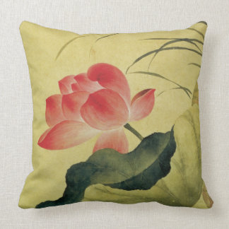 Lotus Flower Compassion Chinese Fine Art Throw Pillow