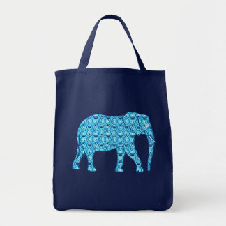 Lotus Flower Elephant, Turquoise and White Tote Bag
