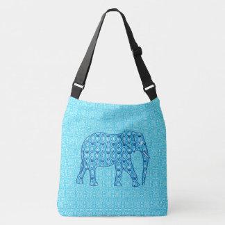 Lotus flower elephant - turquoise crossbody bag