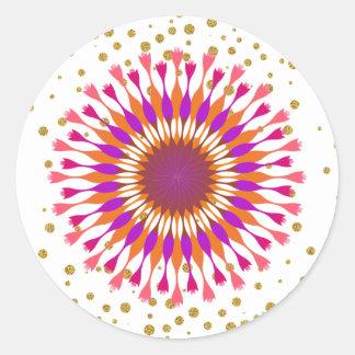 Lotus Flower Gold Confetti Pink Classic Round Sticker