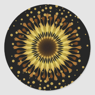 Lotus flower Gold Yellow Wedding confetti Classic Round Sticker
