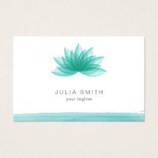 Lotus flower in teal color business card