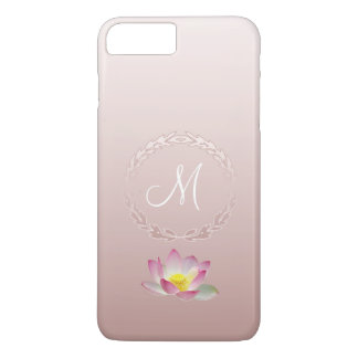 Lotus Flower Laurel Wreath Monogram iPhone 8 Plus/7 Plus Case