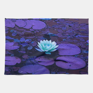 Lotus Flower Magical Purple Blue Turquoise Floral Kitchen Towel