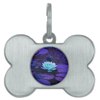 Lotus Flower Magical Purple Blue Turquoise Floral Pet Tags
