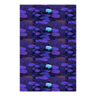Lotus Flower Magical Purple Blue Turquoise Floral Stationery Paper
